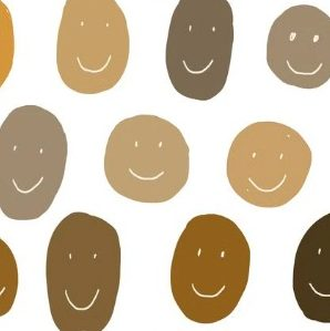 dibujo de cabezas de diferentes colores de piel