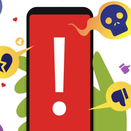 un teléfono con una señal de advertencia